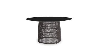 Cuff Round Black Glass Dining Table